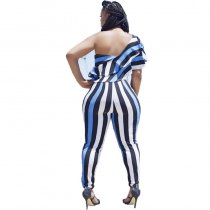 One Shoulder Printed Stripes Sexy Jumpsuits