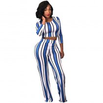 Printed Bandages Top And Wide Leg Pants
