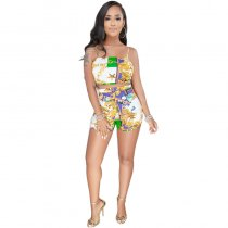 Flower Print Bra Top And Shorts