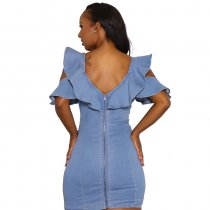 Sexy Blue Denim Ruffles Bodycon A-Line Dress