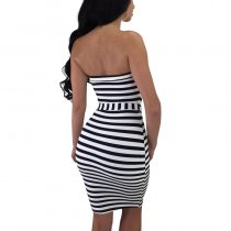 Fashion striped Off The Shoulder Strapless Dresses