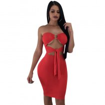 Summer New Sexy Bare Shoulder Starppy Front Sexy Midi Dress
