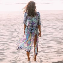 Chiffon Print Loose Split Beach Cardigan