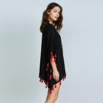 Floral Embroidery Lace Up Tunic