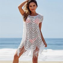 Lace Fringed Beach Blouse