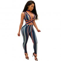 Sleeveless Jumpsuit (Navy/Orange)