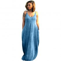 Straps Pocketed Casual Maxi Dress