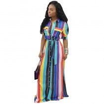 Belted Stripe Maxi Dress