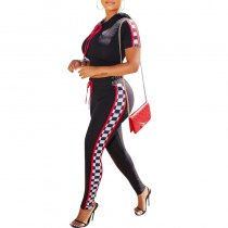 Sports Black Hoodies Blouse and Pants