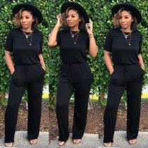 Short Sleeve Tie Jumpsuit