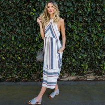 Striped Midi Halter Summer Dress