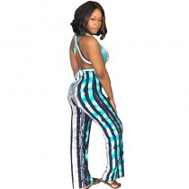 Striped Cross Back Sashes Backless Long Jumpsuit With Wide Leg