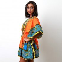 African Print Orange Dashiki Women Dress
