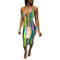 Multicolor Printed Straps Dress
