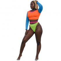Euramerican Patchwork Two-piece Swimwear