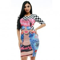 Half Sleeve Boat Neck Knee-Length Graphic Print Dress