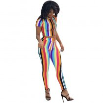 Easy To Love Colorful Striped Pant Set