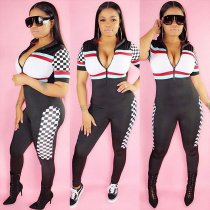 3 Colors Sexy Block Colors Zipped Sports Jumpsuit