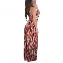 Halter Mixed Color Printed Two-Piece Outfits With Wide Leg