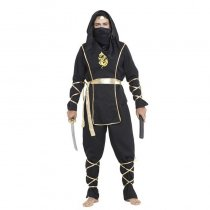 Martial Artist Black Ninja Cosplay Costume Halloween Party Wear