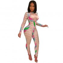 Multi-color Printed Sexy Nude Fitting Clubbing Jumpsuit