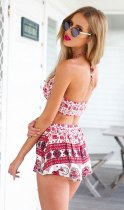 Boho Cherry Red Pattern Two-piece Shorts Set