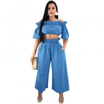 Fashion Dew Shoulder Denim Two-piece Pants Set