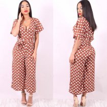 Polka-dot V-neck Short Sleeve Sexy Jumpsuit