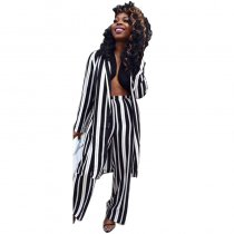 Black White Striped Cardigan And High Waisted Long Pants