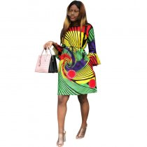 Trumpet Sleeve Boat Neck Geometric Print Dress