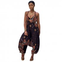 Printed Bohemian Goddess Jumpsuit (Black)