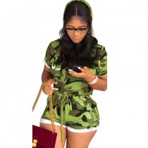 Hooded Collar Camouflage Print Two-piece Shorts Set