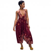 Printed Bohemian Goddess Jumpsuit (Red)
