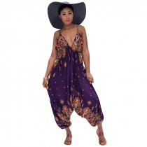 Printed Bohemian Goddess Jumpsuit (Purple)