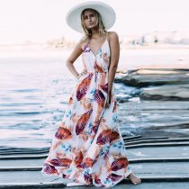 Women Floral Print V Neck Beach Boho Maxi Dress