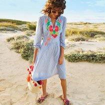 Marla Embroidered Striped Beach Dress
