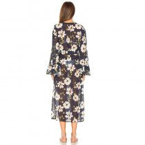 Belted Flowers Chiffon Flare Sleeve Cardigan