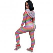 Colorful Mesh Fishnet Hooded Jumpsuit