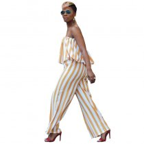 Striped Print Strapless Overlay Jumpsuit