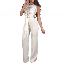 Sleeveless Lace Panel Belted Bordeaux Jumpsuit