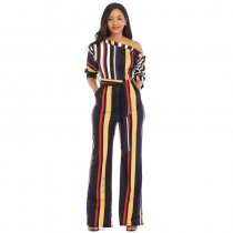 One Off Shoulder Print Colorful Striped Jumpsuits With Belt