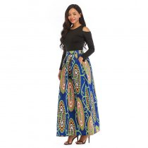 African Print Thicken Long Sleeve Blouse and Long Skirt