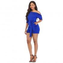 Slash Neck Bandage Playsuits With Button
