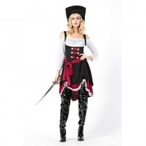 Women Off Shoulder Pirate Captain Cosplay Costume