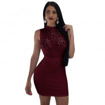 Sleeveless Sexy Solid Color Mini Dress With Sequins