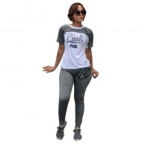 Block Color Print Sports Top and Pants