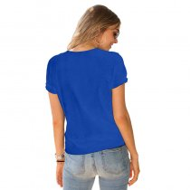 Cut-Out Short Sleeve Plain T-Shirt