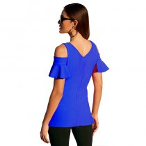 Cut-Out Shoulder Plain Blouse with Ruffle Cuffs