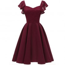 Women's Elegant Cocktail A-line Lace Dress