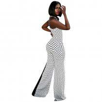 Patchwork Polka Dot Print Party Long Jumpsuit With Wide Leg